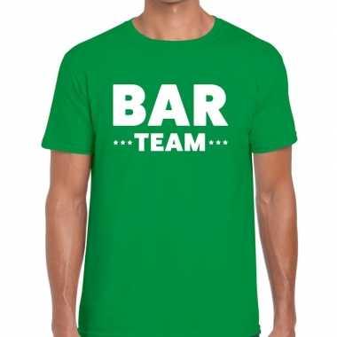 Personeel t shirt groen bar team bedrukking heren