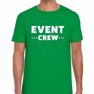 Personeel t shirt groen event crew bedrukking heren