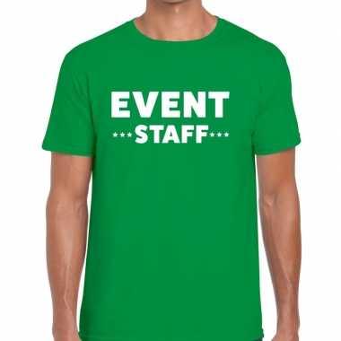 Personeel t shirt groen event staff bedrukking heren
