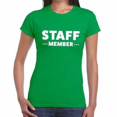 Personeel t shirt groen staff member bedrukking dames