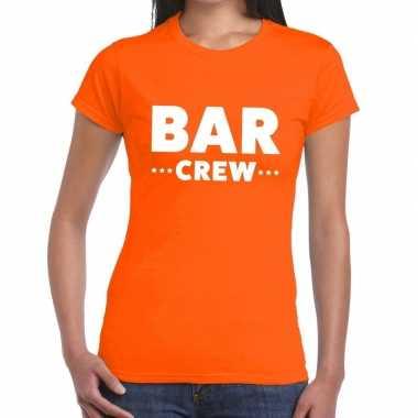 Personeel t shirt oranje bar crew bedrukking dames
