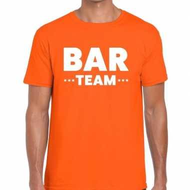 Personeel t shirt oranje bar team bedrukking heren