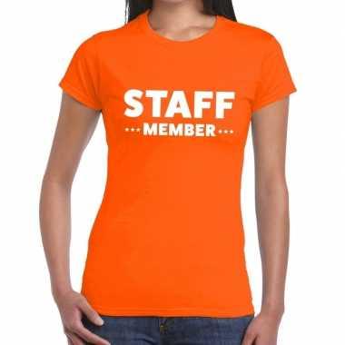 Personeel t shirt oranje staff member bedrukking dames