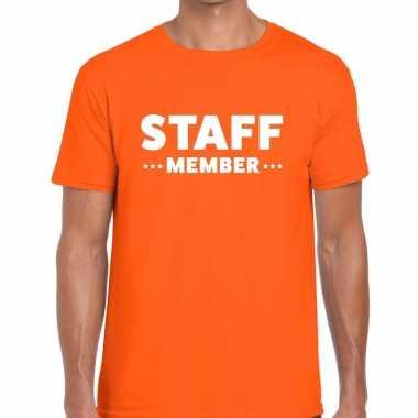Personeel t shirt oranje staff member bedrukking heren