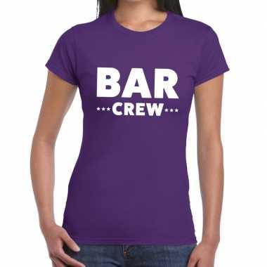 Personeel t shirt paars bar crew bedrukking dames