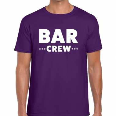 Personeel t shirt paars bar crew bedrukking heren