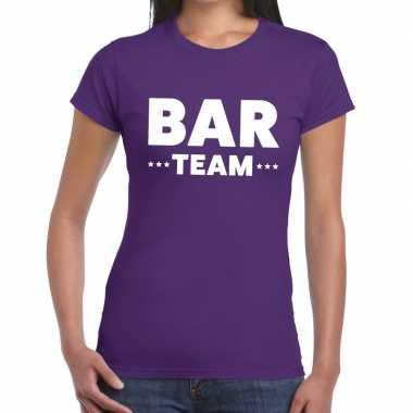 Personeel t shirt paars bar team bedrukking dames