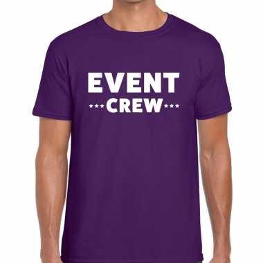 Personeel t shirt paars event crew bedrukking heren