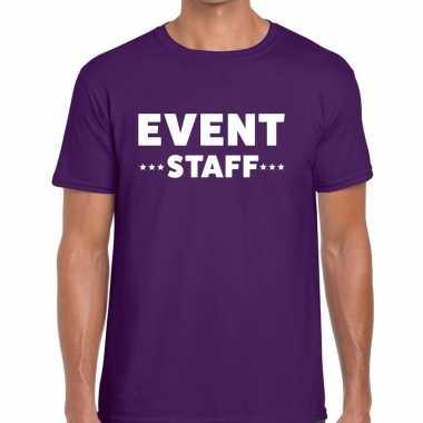 Personeel t shirt paars event staff bedrukking heren