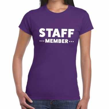 Personeel t shirt paars staff member bedrukking dames