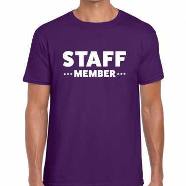 Personeel t shirt paars staff member bedrukking heren