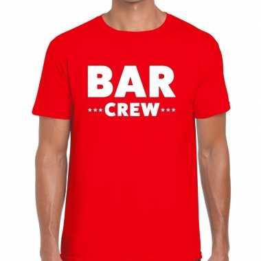 Personeel t shirt rood bar crew bedrukking heren