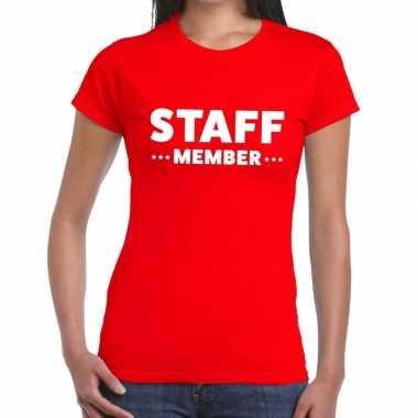 Personeel t shirt rood staff member bedrukking dames