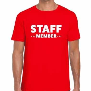 Personeel t shirt rood staff member bedrukking heren