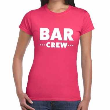 Personeel t shirt roze bar crew bedrukking dames