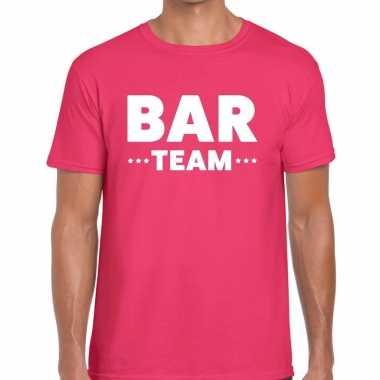 Personeel t shirt roze bar team bedrukking heren