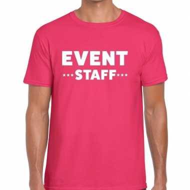 Personeel t shirt roze event staff bedrukking heren