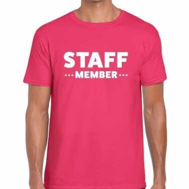 Personeel t shirt roze staff memeber bedrukking heren