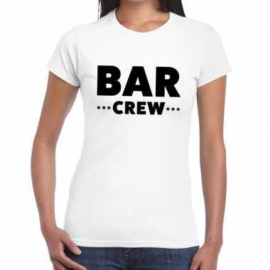 Personeel t shirt wit bar crew bedrukking dames