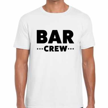 Personeel t shirt wit bar crew bedrukking heren