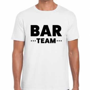 Personeel t shirt wit bar team bedrukking heren
