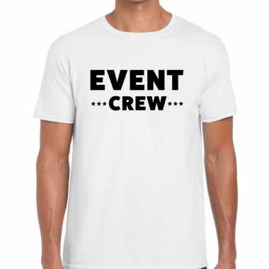 Personeel t shirt wit event crew bedrukking heren