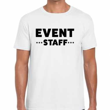 Personeel t shirt wit event staff bedrukking heren