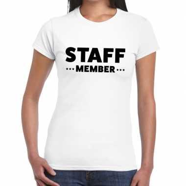 Personeel t shirt wit staff member bedrukking dames
