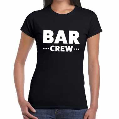 Personeel t shirt zwart bar crew bedrukking dames