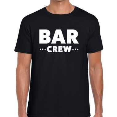 Personeel t shirt zwart bar crew bedrukking heren