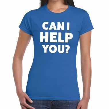 Personeel tekst t shirt blauw can i help you? bedrukking dames