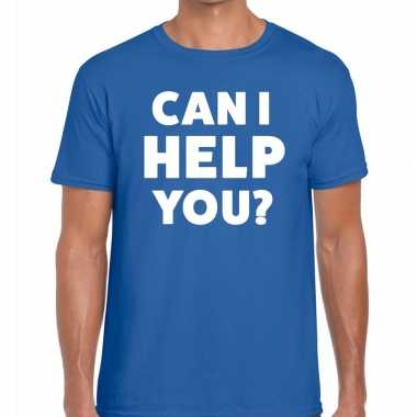 Personeel tekst t shirt blauw can i help you? bedrukking heren