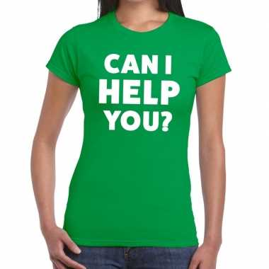 Personeel tekst t shirt groen can i help you? bedrukking dames