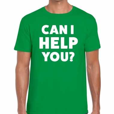 Personeel tekst t shirt groen can i help you? bedrukking heren