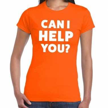 Personeel tekst t shirt oranje can i help you? bedrukking dames