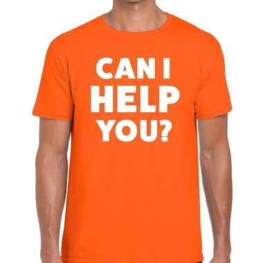 Personeel tekst t shirt oranje can i help you? bedrukking heren