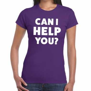 Personeel tekst t shirt paars can i help you? bedrukking dames