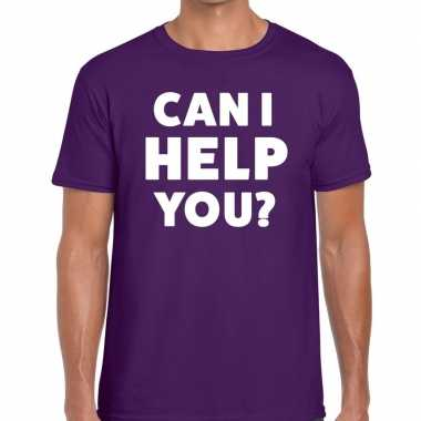 Personeel tekst t shirt paars can i help you? bedrukking heren