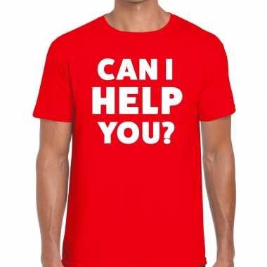 Personeel tekst t shirt rood can i help you? bedrukking heren