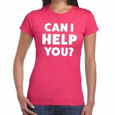 Personeel tekst t shirt roze can i help you? bedrukking dames
