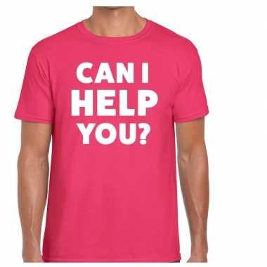 Personeel tekst t shirt roze can i help you? bedrukking heren