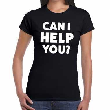 Personeel tekst t shirt zwart can i help you? bedrukking dames