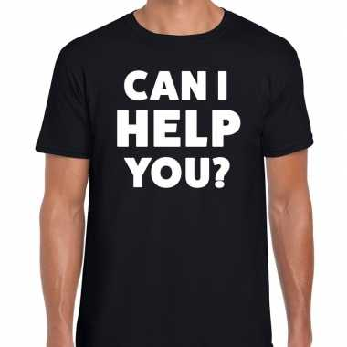 Personeel tekst t shirt zwart can i help you? bedrukking heren