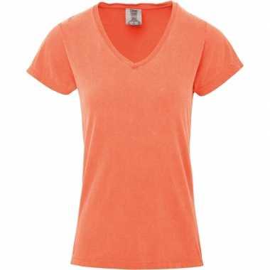 Perzik oranje dames t shirts v hals