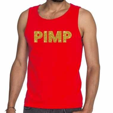 Pimp fun tanktop / mouwloos shirt rood heren