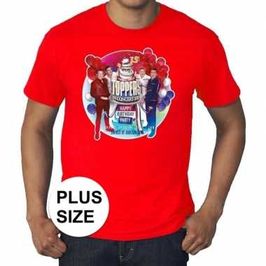 Plus size officieel toppers concert 2019 t shirt rood eren