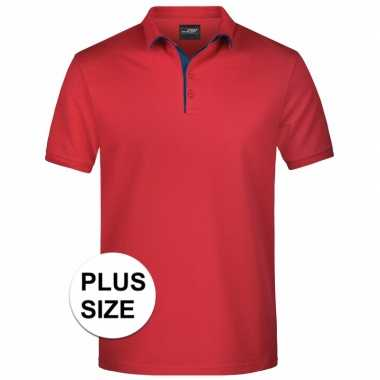 Plus size rode premium poloshirt golf pro heren