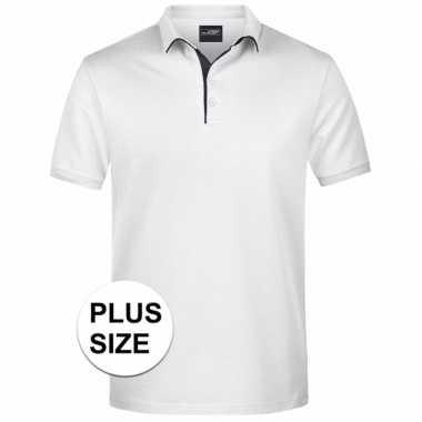 Plus size witte premium poloshirt golf pro heren