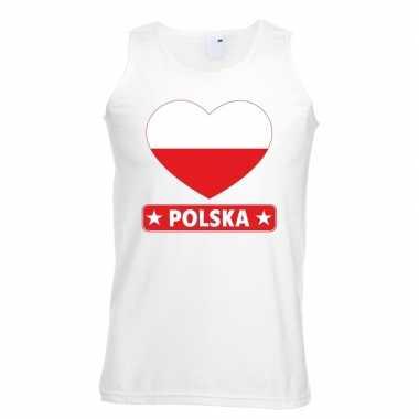 Polen hart vlag mouwloos shirt wit heren