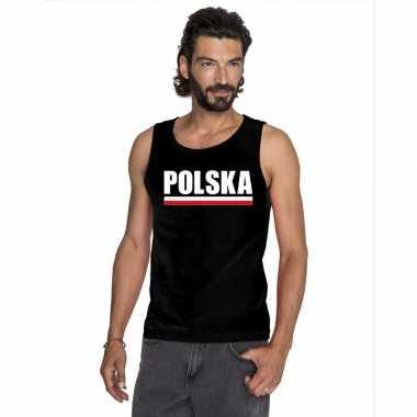 Polen supporter mouwloos shirt/ tanktop zwart heren
